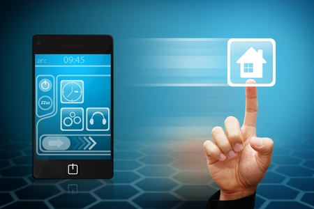 sell house: Smart Hand touch the house icon from mobile phone
