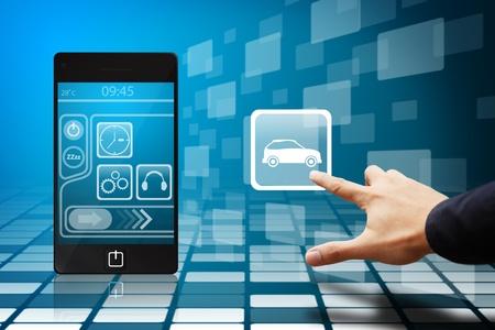 phone button: Hand druk op de auto-pictogram