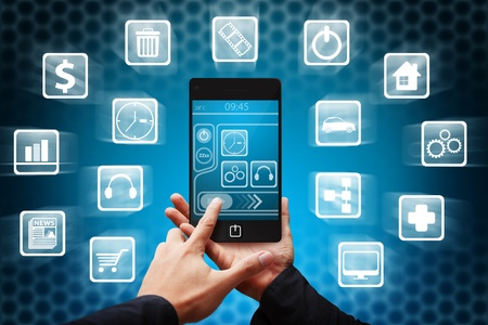Mobile and many icon out Standard-Bild