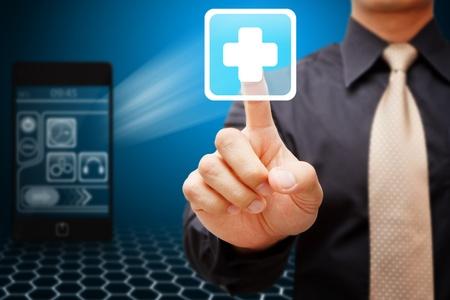 Smart-Touch-Erste-Hilfe-Hand-Symbol aus Mobilfunknetzen Standard-Bild - 12425700
