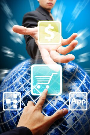 Business man give the cart icon Stock Photo - 12425947