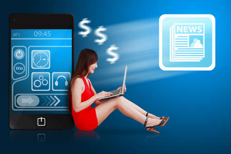 hot secretary: Woman in red dress and news icon from mobile phone Stock Photo