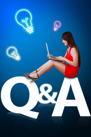 Woman in red dress sit on Question and Answer Q A Stock Photo - 12425527