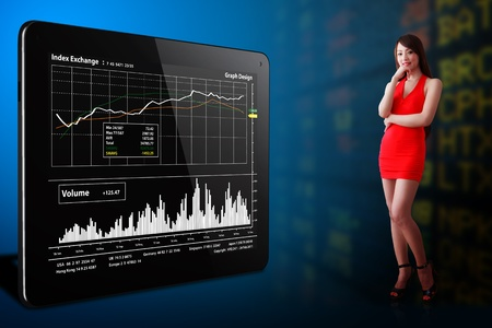 Woman in red dress and stock graph report photo