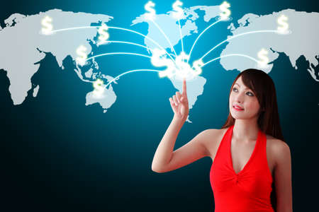 wold: Woman in red dress touch the Money icon on the World map