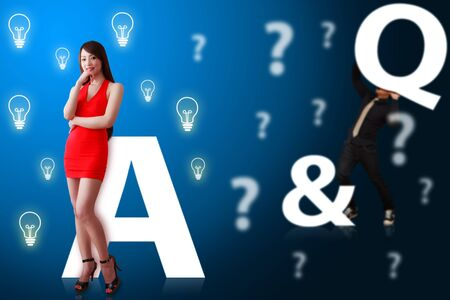 shopping questions: Woman in red dress and Q A answer and question  Stock Photo