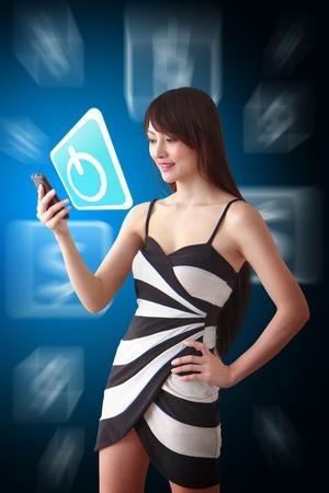 hot secretary: Beautiful Woman look at power icon