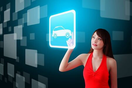 hot secretary: Woman in red dress touch the car icon