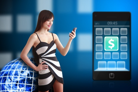 Beautiful Woman and money icon on mobile phone photo