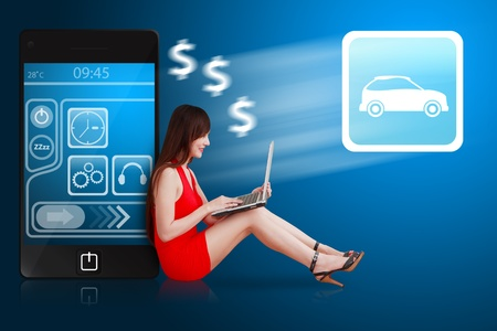 sell car: Woman in red dress using notebook computer and car icon