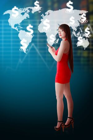 Woman in red dress and stock exchange world map photo