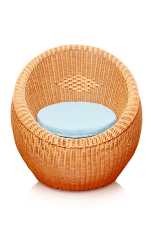 Round wicker chairs on white background  photo