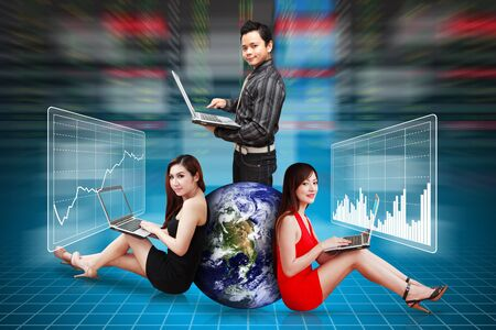 A group of Business people present the stock exchange graph report photo