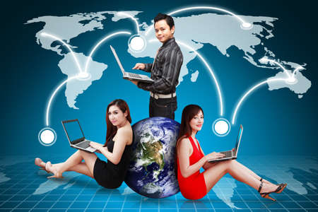 A group of business people and world map background photo