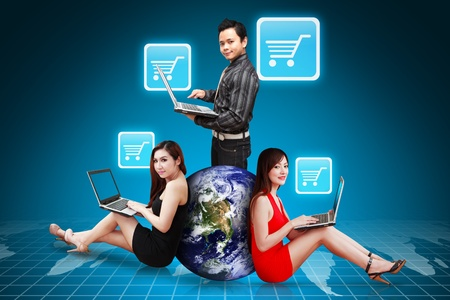 A group of business people and Cart icon Stock Photo - 12994883