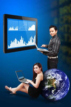 Two secretaries present the stock exchange graph report photo