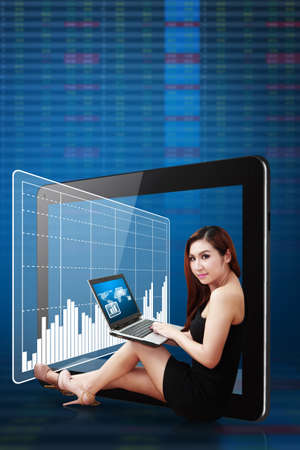 Business woman present the graph report photo