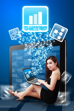 Business woman present the Graph icon Stock Photo - 12995005