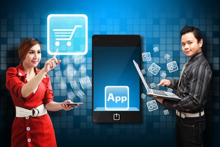 Business man and Secretary touch the Cart icon from mobile phone Stock Photo - 12994825