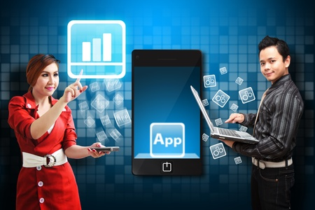 wold map: Business man and Secretary touch the Graph icon from mobile phone  Stock Photo
