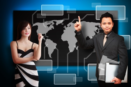 wold map: Business man and secretary present the graph report Stock Photo