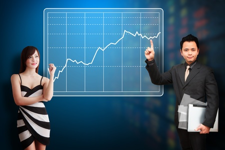 stock broker: Business man and his secretary present the Stock exchange graph report