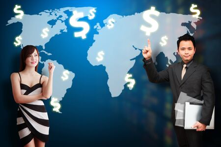 wold map: Business man and secretary present the Money report