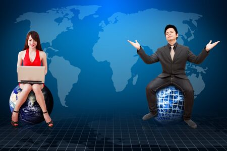 stock broker: Business man and his secretary present the world map