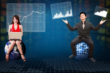 Business man and his secretary present the Stock exchange graph report photo