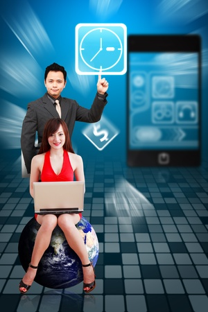Business man and secretary present the Clock icon from mobile phone Stock Photo - 12994902
