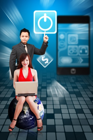 Business man and secretary present the Power icon from mobile phone Stock Photo - 12994944