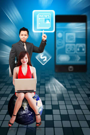 Business man and secretary present the News icon from mobile phone Stock Photo - 12994908