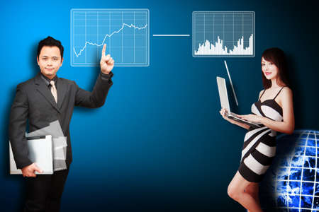 Business man and secretary present the stock exchange graph report Stock Photo - 12995036