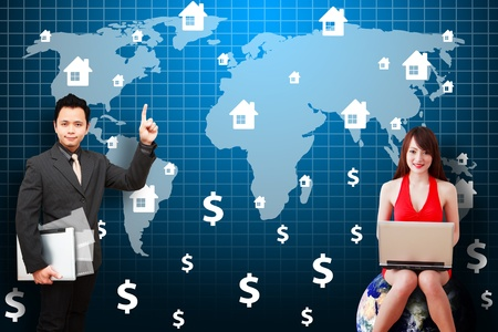 wold map: Woman and Business man on world map background  Stock Photo