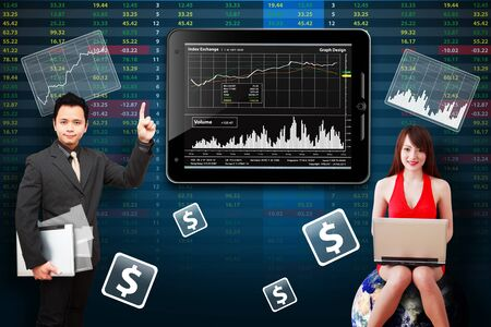 wold map: Business man and secretary present the stock exchange graph report