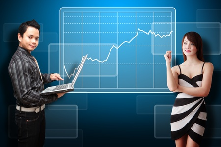 wold: Business man and secretary present the stock exchange graph report