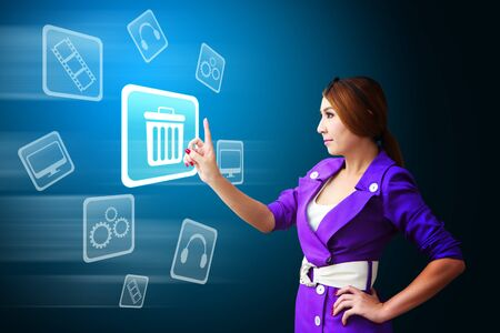 application recycle: Secretary touch the Bin icon Stock Photo