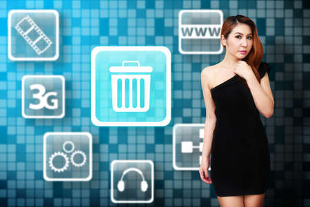 application recycle: Woman and Bin icon Stock Photo