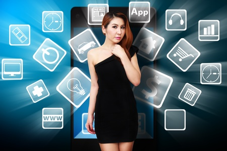 shoppping: Woman and many icon from mobile phone Stock Photo
