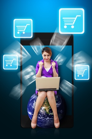 Woman on globe and Cart icon from mobile phone Stock Photo - 12994885
