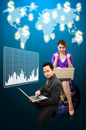 wold map: Business man and woman present the graph report