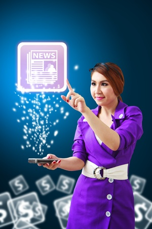 hot news: Beautiful lady touch the News icon from mobile phone Stock Photo