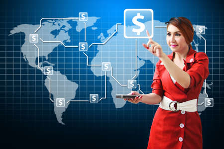 wold map: Beautiful lady and money icon on world map background Stock Photo