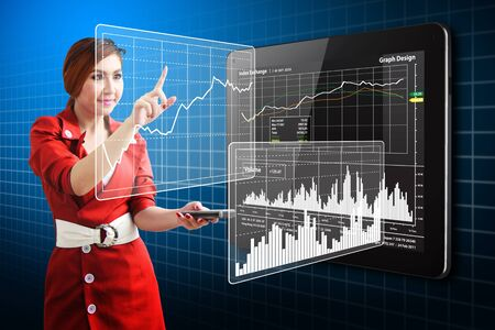 Beautiful lady touch the stock exchange graph report Stock Photo - 12994903