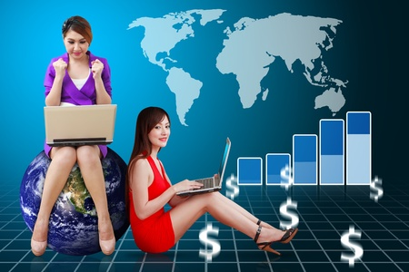 wold map: Secretaries and stock graph report Stock Photo