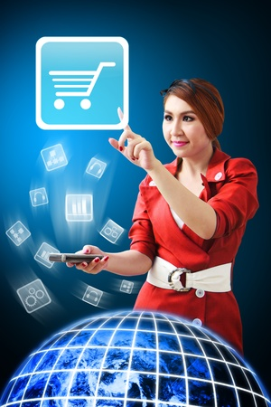 Woman touch the Cart icon from mobile phone Stock Photo - 12994667