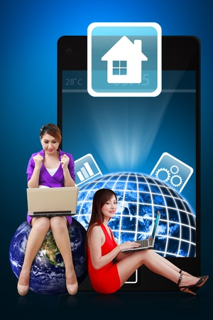 Secretaries present the House icon from mobile phone Stock Photo - 12994931