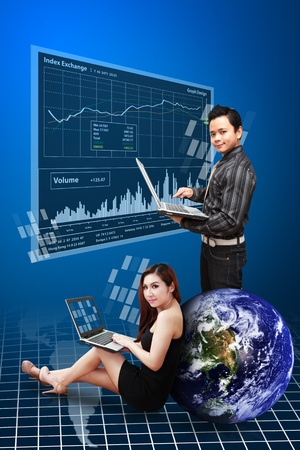 wold map: A group of Business people present the stock exchange graph report