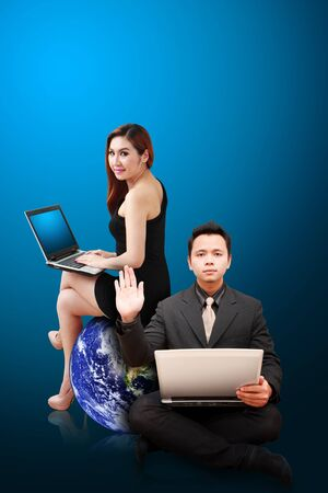 wold map: Business man and woman