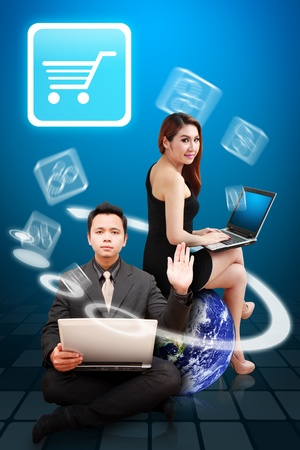 Business man and woman present the Cart icon Stock Photo - 12994840